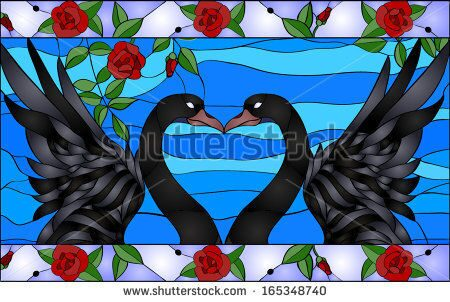 stock-vector-swans-with-heart-stained-glass-window-165348740