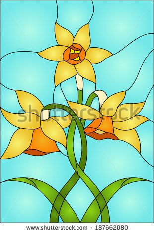 stock-vector-daffodils-spring-flower-love-symbol-of-wales-stained-glass-window-187662080
