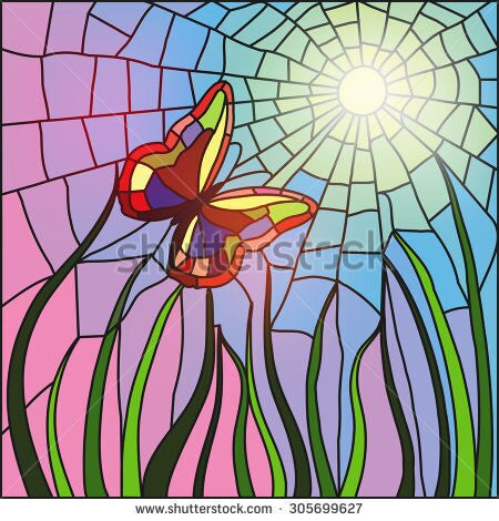 stock-vector-the-image-of-the-butterfly-flying-to-the-sun-executed-in-equipment-of-a-stained-glass-w