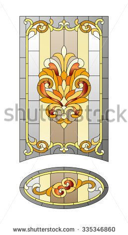 stock-vector-stained-glass-door-in-the-baroque-style-335346860