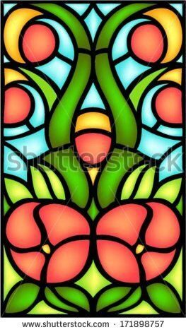 stock-vector-abstract-floral-composition-in-stained-glass-window-style-vector-171898757