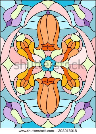 stock-vector--flowers-composition-floral-pattern-for-stained-glass-window-208918018