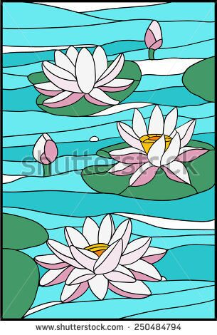 stock-vector-water-lily-composition-stained-glass-window-250484794