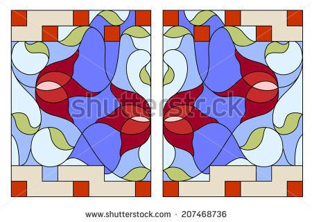stock-vector-stained-glass-window-composition-of-stylized-tulips-leaves-geometric-border-207468736