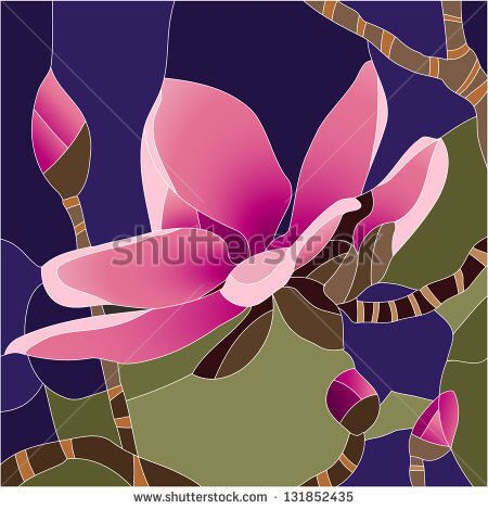 stock-vector-magnolia-flower-stained-glass-window-131852435
