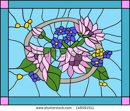 stock-vector-flowers-and-sunflowers-with-buds-in-stained-glass-window-148591511