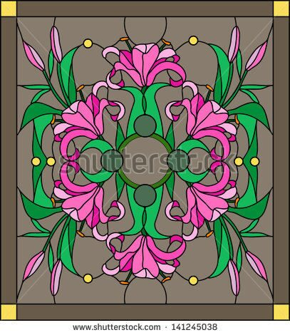 stock-vector-vector-composition-of-a-bouquet-of-lilies-stained-glass-window-141245038