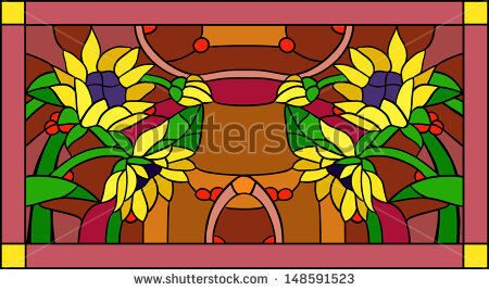 stock-vector-flowers-and-sunflowers-with-buds-in-stained-glass-window-148591523