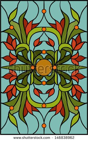 stock-vector-floral-ornament-of-tulips-vector-illustration-in-stained-glass-window-146838962