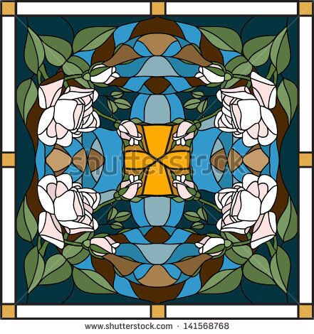 stock-vector-vector-composition-with-the-queen-of-flowers-rose-stained-glass-window-door-and-ceiling