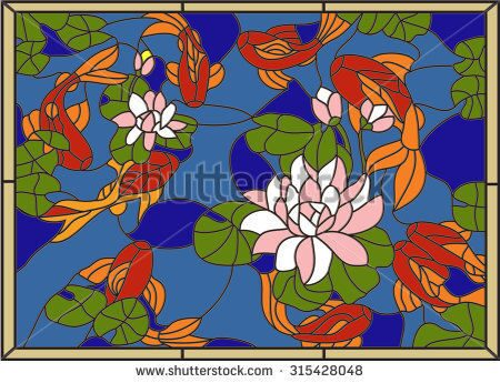 stock-vector-stained-glass-window-with-fish-on-the-background-of-flowers-and-leaves-vector-315428048