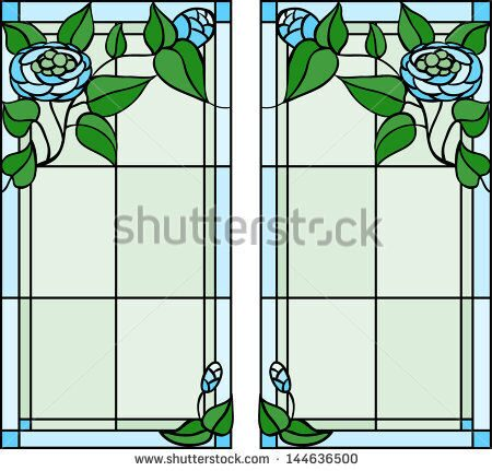 stock-vector-ranunculus-flowers-stained-glass-window-144636500