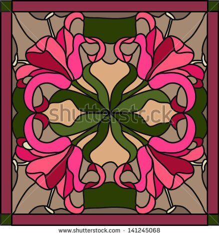 stock-vector-vector-composition-of-a-bouquet-of-lilies-stained-glass-window-141245068