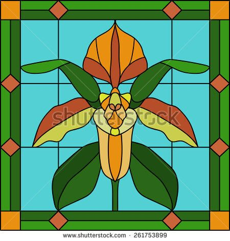 stock-vector--vector-illustration-paphiopedilum-tropical-orchid-in-stained-glass-window-261753899